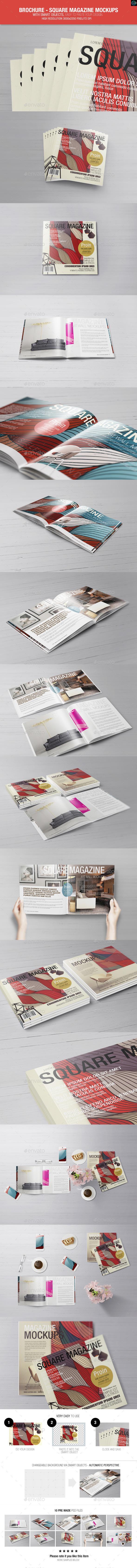 Brochure - Square Magazine Mockups - Magazines Print