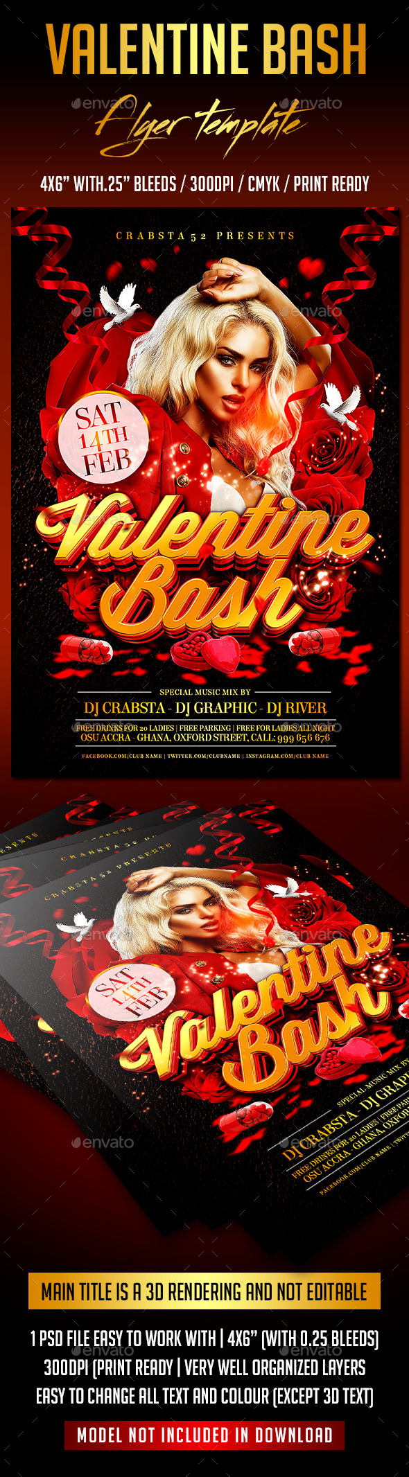 Valentine Bash Flyer Template - Events Flyers