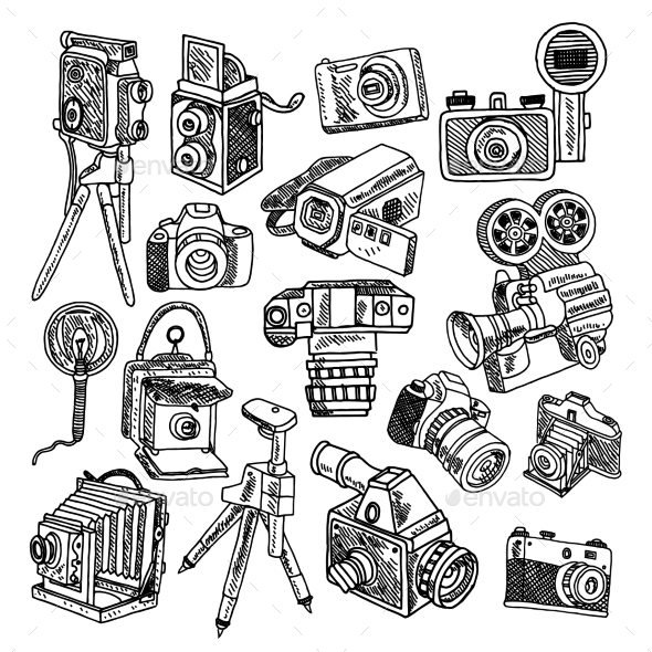 Camera Doodle Sketch Icons Set - Technology Conceptual