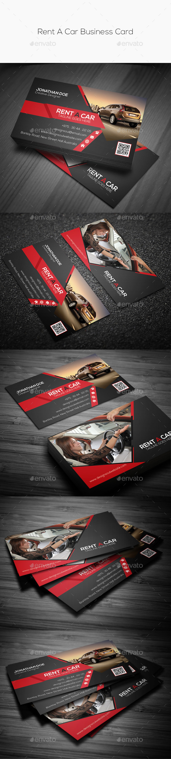 Rent A Car Business Card by designsoul14 | GraphicRiver
