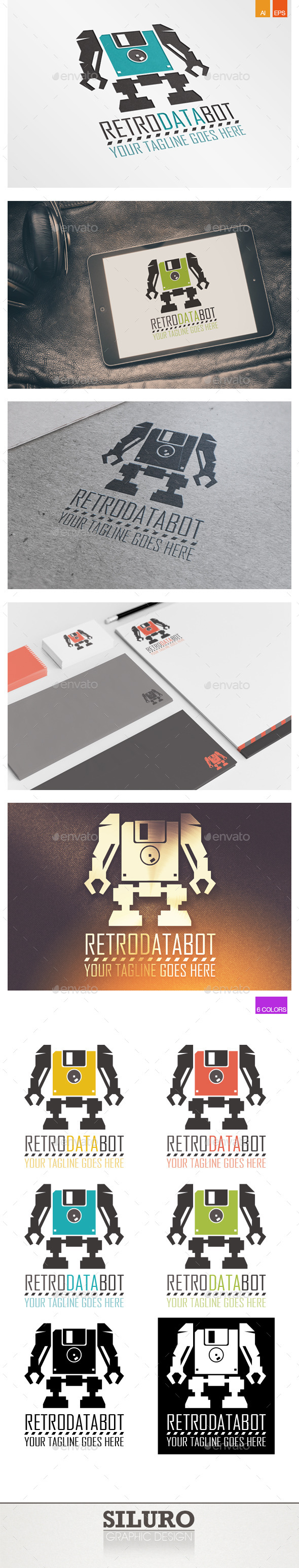 Retro Data Bot Logo - Objects Logo Templates
