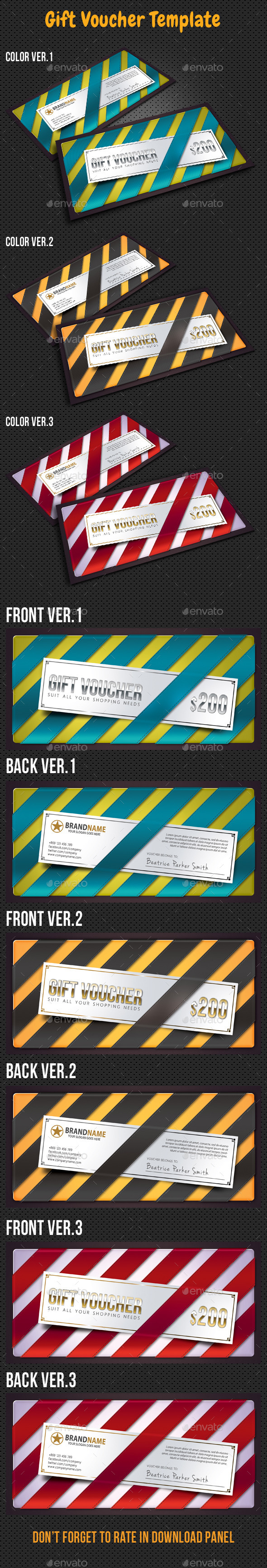 Gift Voucher Card Template - Cards & Invites Print Templates