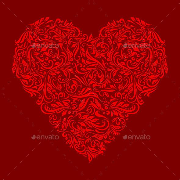 Decorated Red Heart - Decorative Symbols Decorative