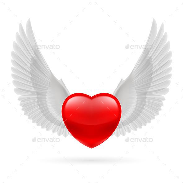 Heart with Raised Wings - Valentines Seasons/Holidays
