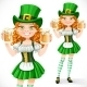 Girl Leprechaun Holding Two Goblets of Beer - GraphicRiver Item for Sale