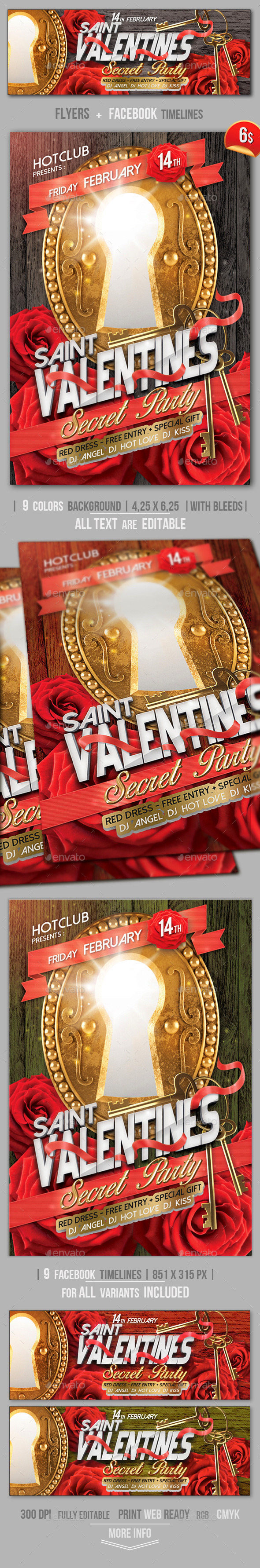 Valentines Flyer + Fb Timeline Template - Clubs & Parties Events