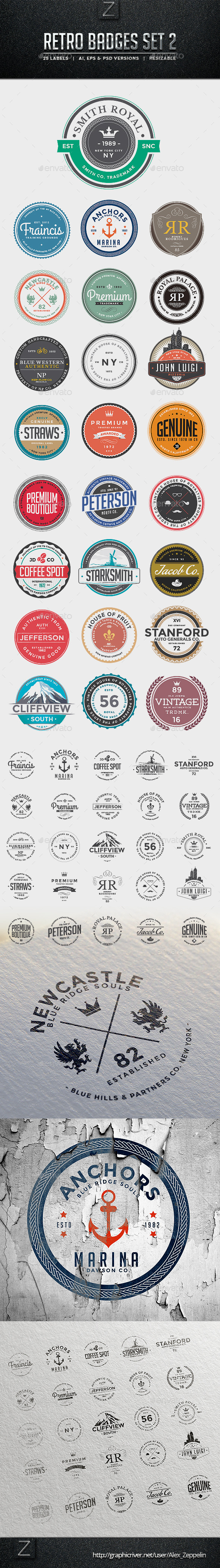 Retro Badges Set 2 - Badges & Stickers Web Elements