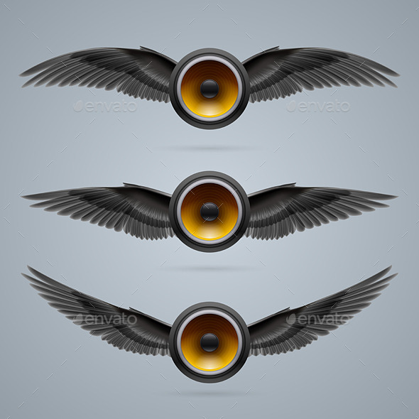 Three Two-Winged Music Speakers - Abstract Conceptual