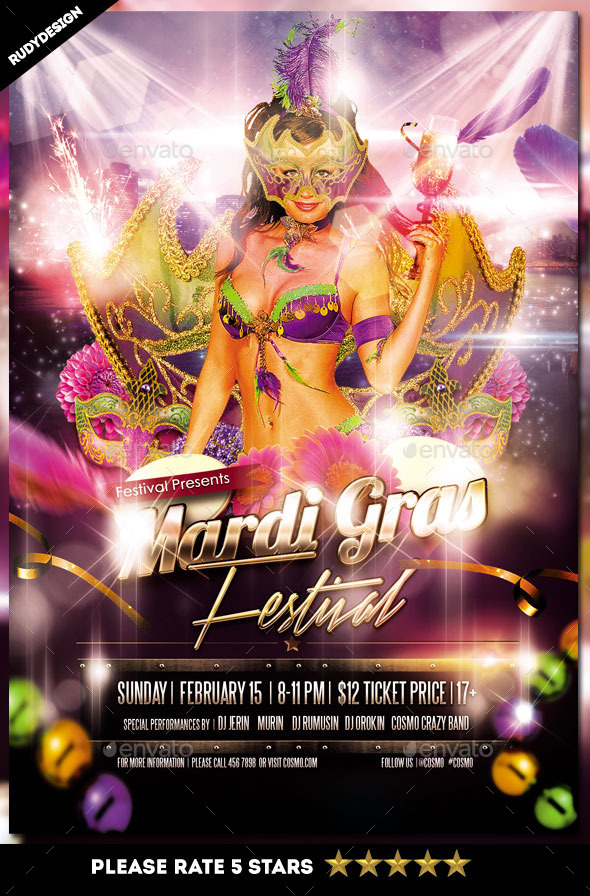 mardi gras fat tuesday carnival flyer template by rudydesign