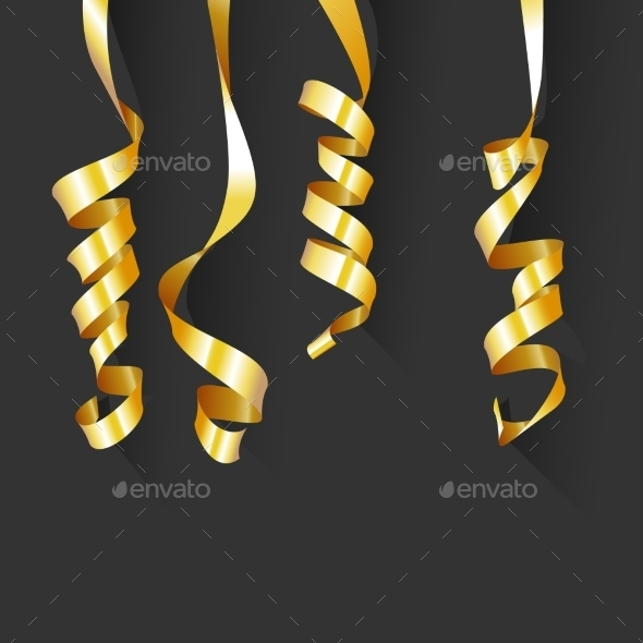Birthday Background with Gold Streamers - Backgrounds Decorative