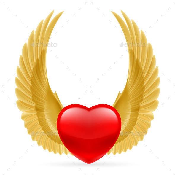 Heart with Wings Up - Tattoos Vectors