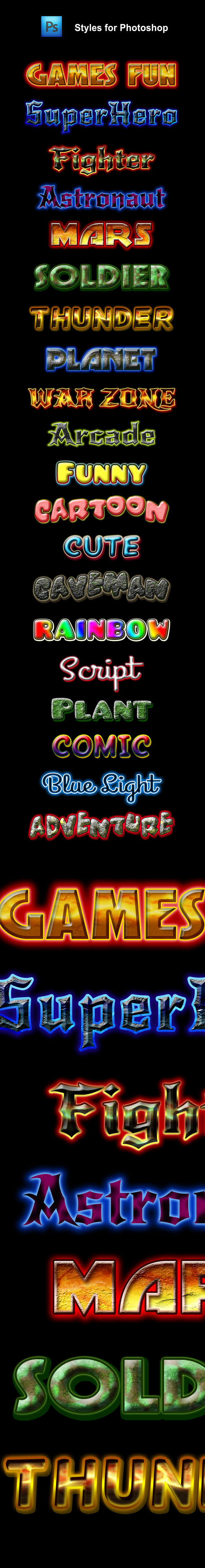 20 Games Fun Styles for Photoshop - Text Effects Styles