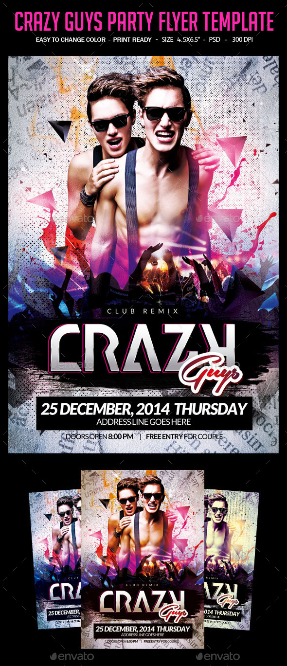 Crazy Guys Party Flyer Template - Clubs & Parties Events