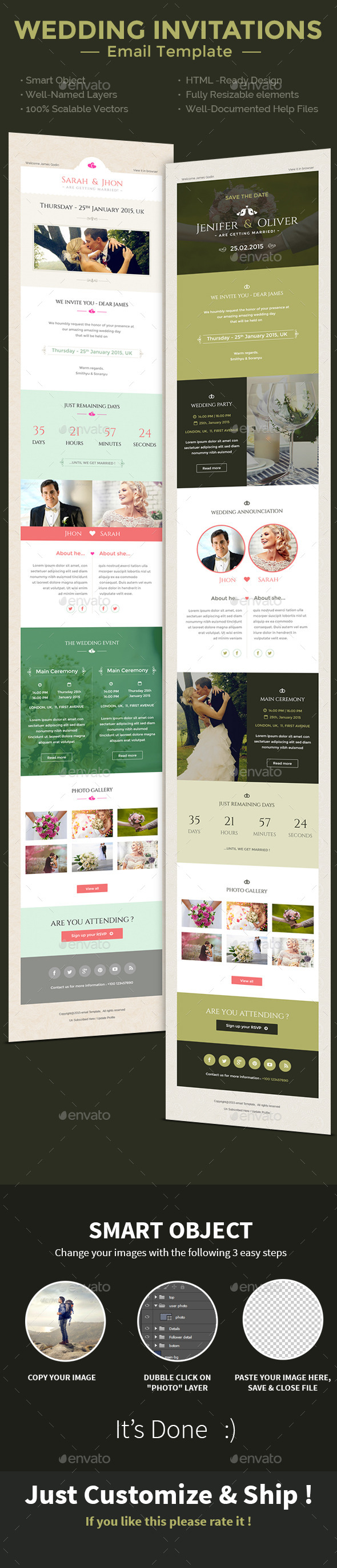 Wedding Invitation PSD Email Templates - E-newsletters Web Elements