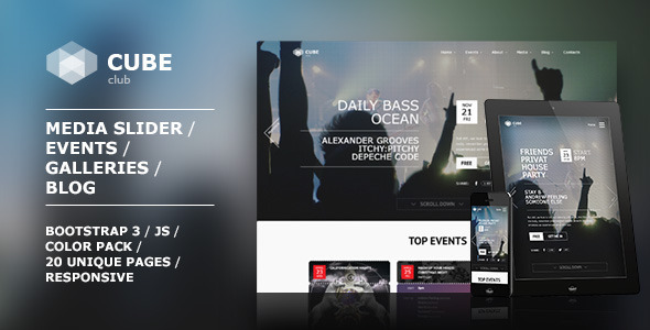 Club Cube – responsive HTML5 theme for night club