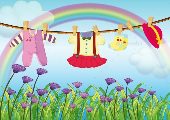 Hanging Baby Clothes Near Garden - Man-made Objects Objects
