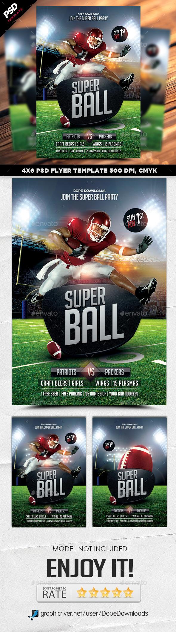 Super Ball Football Final Flyer - Sports Events