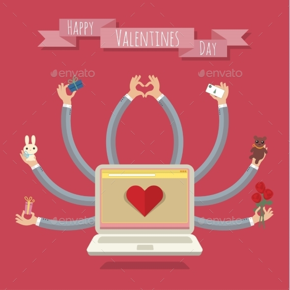 Many Hands Laptop Valentine Card - Valentines Seasons/Holidays