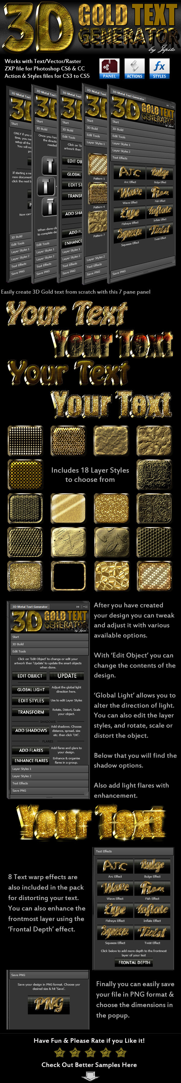 3D Gold Text Generator Panel - Text Effects Actions
