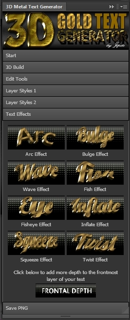 3d gold text generator panel by jipito