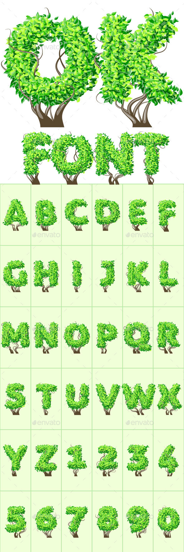 Detailed Tree Aalphabet - Decorative Symbols Decorative