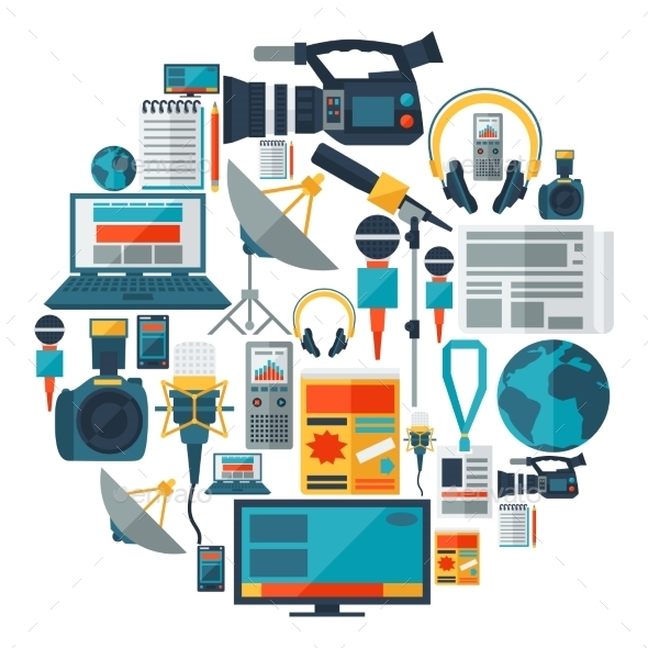 Background with Journalism Icons  - Communications Technology