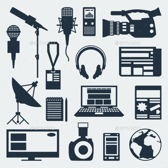 Set of Journalism Icons - Communications Technology