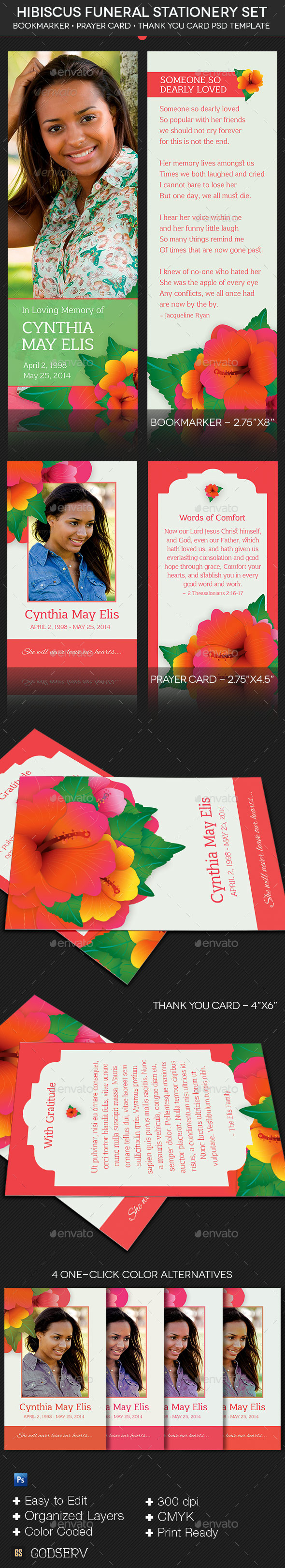 Hibiscus Funeral Stationery Template Set - Stationery Print Templates