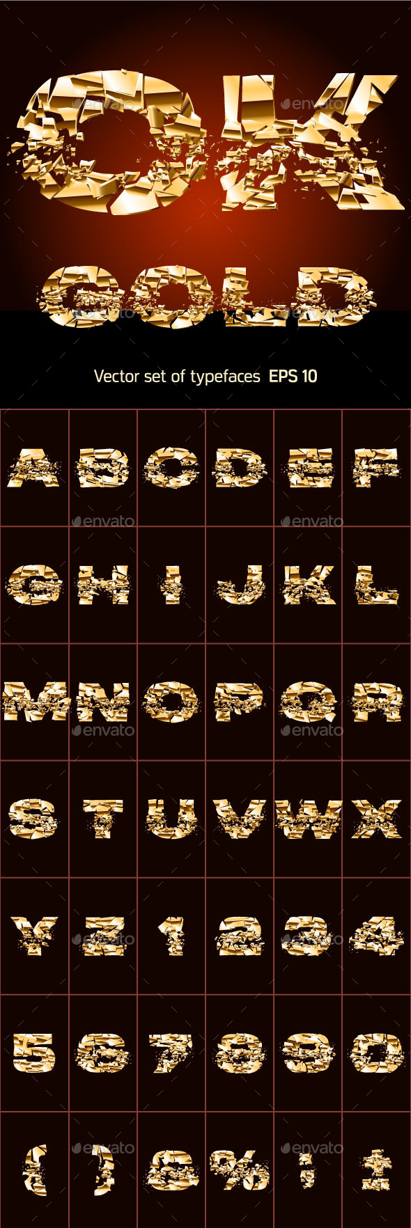Set of a Broken Golden Alphabet Letters - Decorative Symbols Decorative