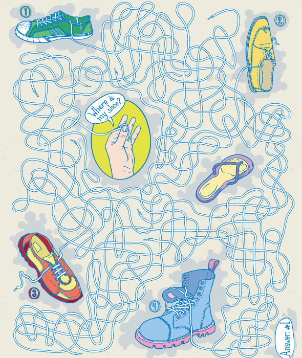 Shoes Maze Game - Vectors