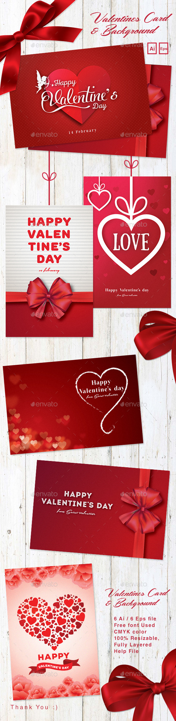 Valentines Card & Background - Holiday Greeting Cards