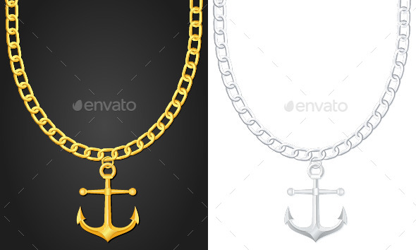 Necklace with Anchor - Man-made Objects Objects