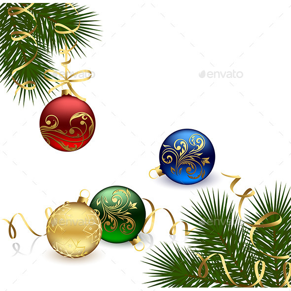 Christmas Frame with Baubles - Christmas Seasons/Holidays