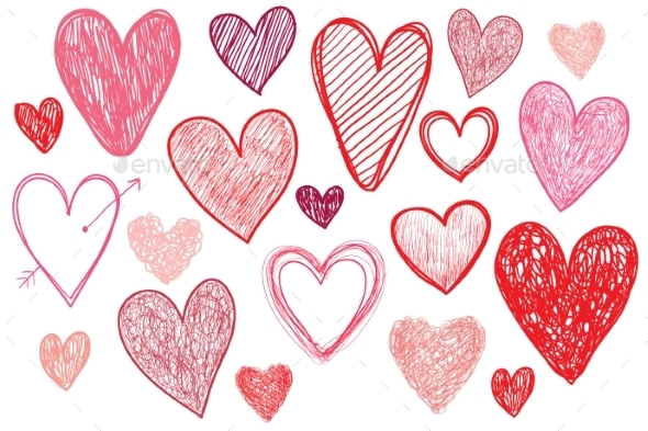 Vector Set of Hand Drawn Doodle Hearts - Valentines Seasons/Holidays