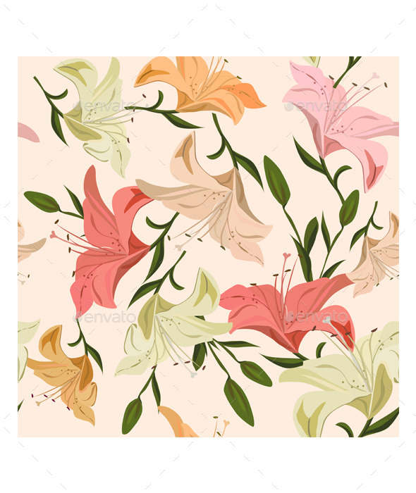 Seamless Pattern Lily - Flowers & Plants Nature