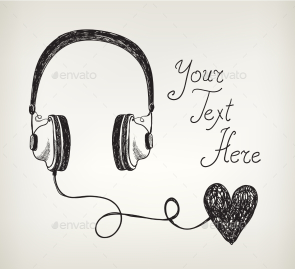 Vector Retro Hand Drawn Doodle Headphones - Valentines Seasons/Holidays