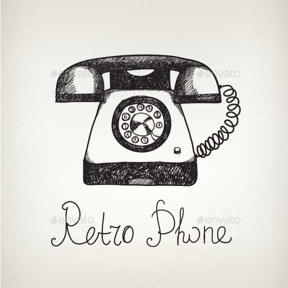 Vector Hand Drawn Doodle Retro Phone - Computers Technology