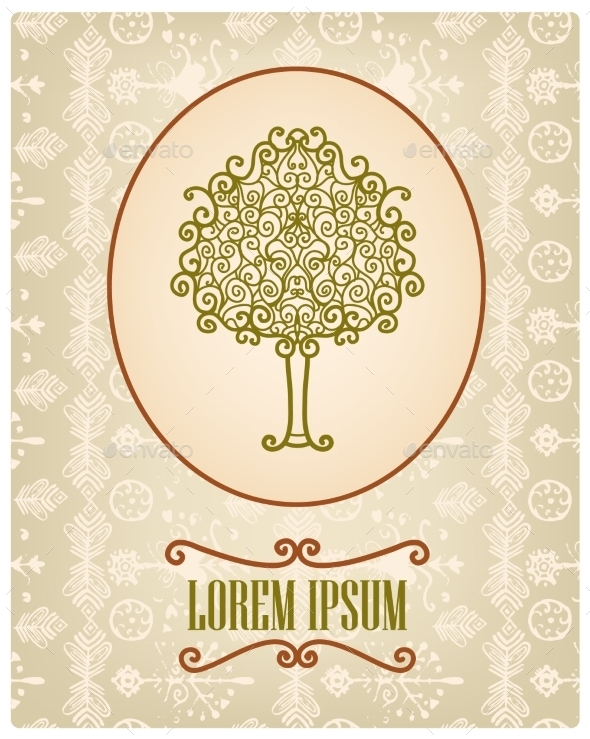 Vector Vintage Card with Hand Drawn Tree - Flowers & Plants Nature