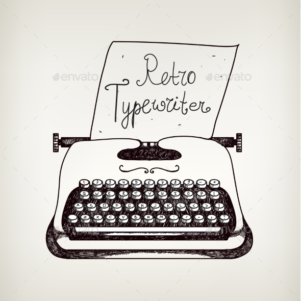Vector Hand Drawn Doodle Retro Black and White Typewriter - Patterns Decorative