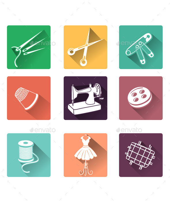 Flat Icons with Sewing Elements - Miscellaneous Vectors