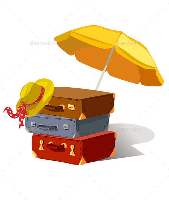 Suitcases Beach Umbrella Hat - Travel Conceptual