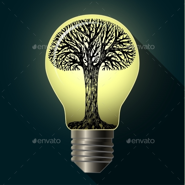 Eco Bulb with Tree - Nature Conceptual