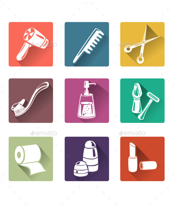 Flat Icons Personal Care - Miscellaneous Vectors
