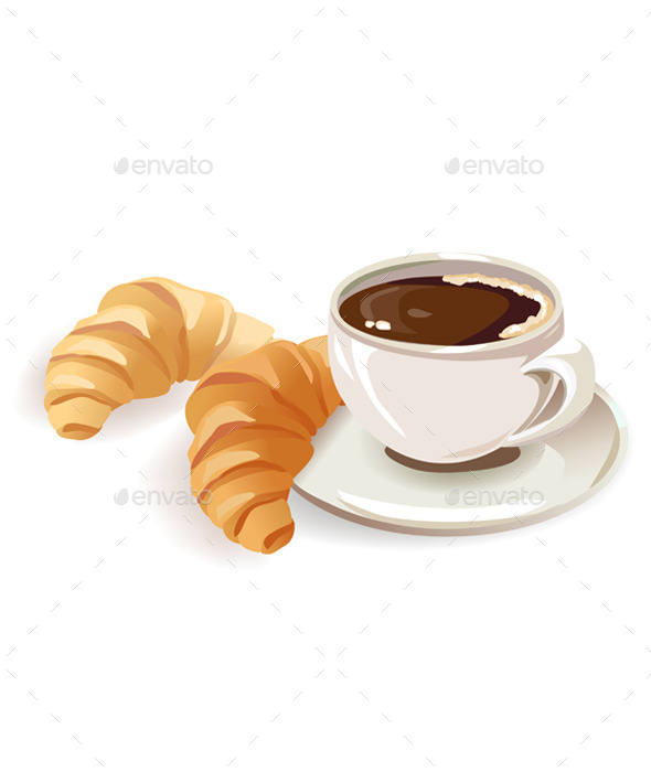 French Breakfast of Coffee and Croissants - Food Objects