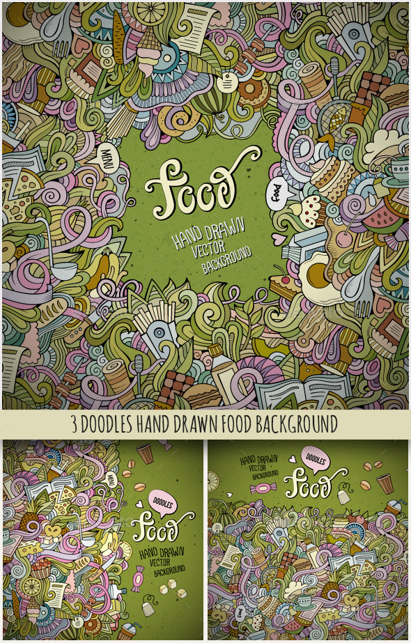 3 Food Doodles Frames - Food Objects