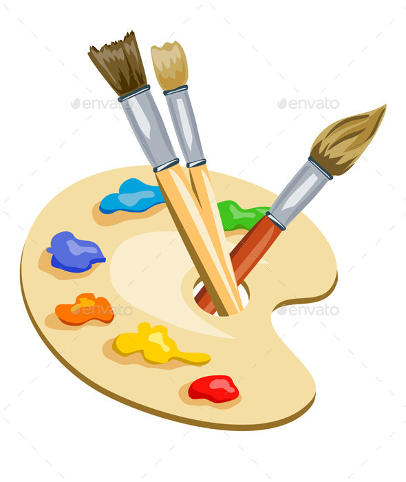 Brushes and Palette with Paints - Miscellaneous Conceptual
