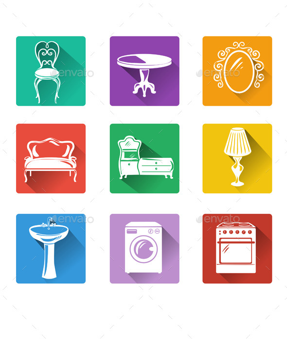 Flat Icons of Furniture and Equipment - Man-made Objects Objects