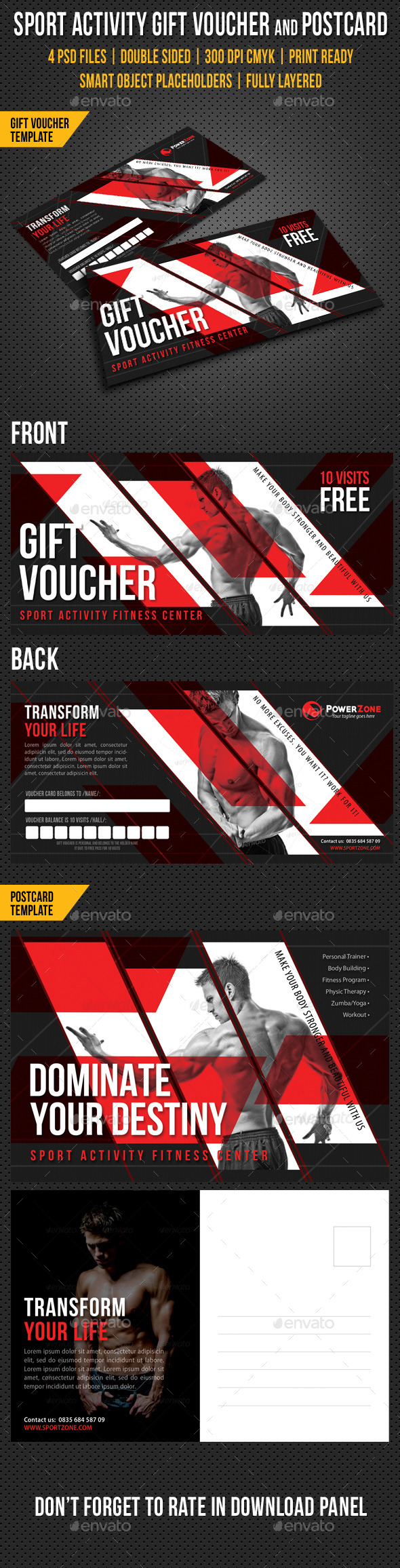 Sport Activity Gift Voucher and Postcard V02 - Cards & Invites Print Templates