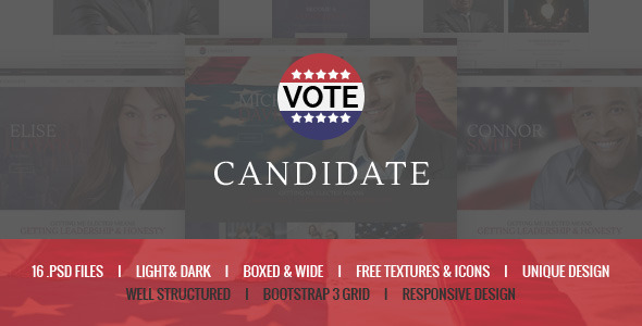Candidate – Political PSD Template