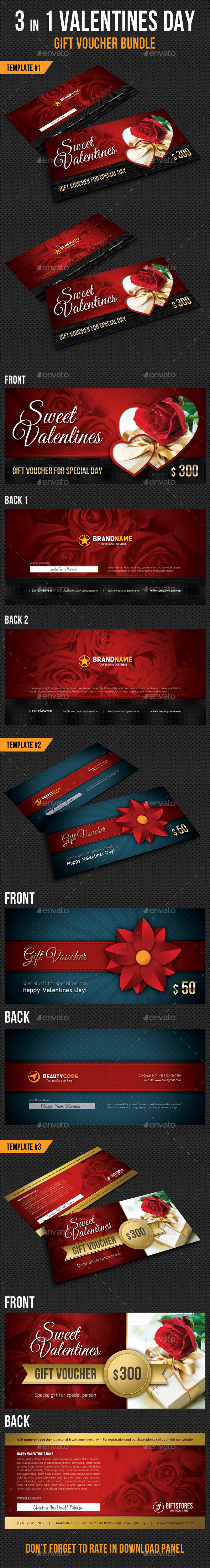 3 in 1 Valentines Day Gift Voucher Bundle - Cards & Invites Print Templates